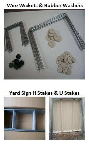 wire wickets, wicket wires, step stakes, u frames, yard sign stakes